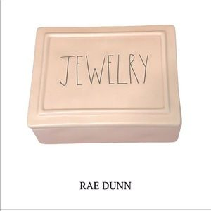 """Rae Dunn By Magenta Ceramic """"JEWELRY"""" Box in pink"""